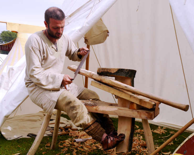 Making an axe handle on the shave horse