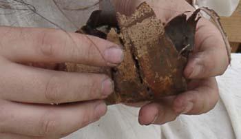 Assembling the roll of birch bark